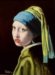 vermeer portrait, girl with a pearl earring, portrait of a girl, realism painting, artwork for sale, old master paintings, portraits in oil by DelmusPhelpsArtworks on Etsy