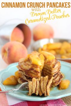 Cinnamon Crunch Pancakes with Brown Butter Caramelized Peaches {gluten-free, grain-free, paleo, dairy-free} from Lexi's Clean Kitchen #ad
