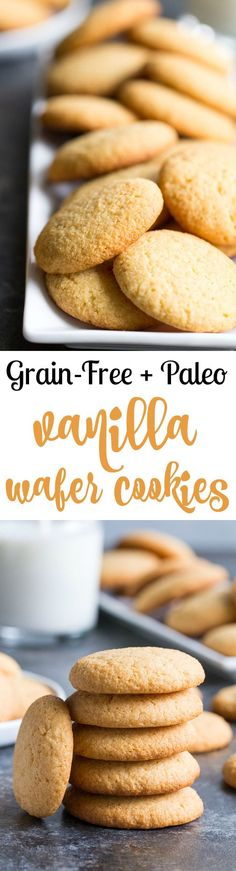These grain free and paleo vanilla wafer cookies are light and crisp with sweet . - These grain free and paleo vanilla wafer cookies are light and crisp with sweet buttery flavor. Paleo Cookies, Gluten Free Cookies, Gluten Free Desserts, Sweet Cookies, Sweet Treats, Paleo Sweets, Paleo Dessert, Dessert Recipes, Dinner Dessert