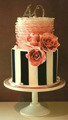 Black and white stripes and pink ruffles Birthday Cake..I would like this for my 40th birthday!