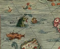 Abraham Ortelius 1570  from the Atlas Theatrum Orbis Terrarum. The famous Carta Marina map. Not only featuring wonderful  sea monsters but also humungous whales poised to attack old sailing ships.