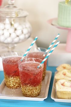 These quick and easy DIY glitter-dipped cups will make your beverage table sparkle!