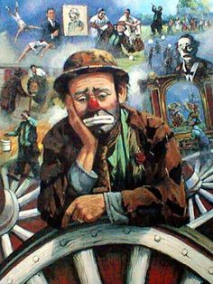Painting of Emmett Kelly by Barry Leighton-Jones
