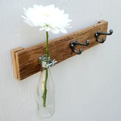 BOTTLE TRIO rustic vase and hook coat rack, organizer for your kitchen, bathroom, entry with soda, pop, coke, pepsi, beer bottle. $36 on Etsy, or DIY