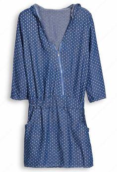 Blue Hooded Polka Dot Zipper Pockets Dress