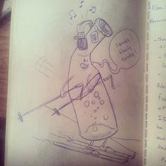 une bouteille de pepsi qui fait du ski en écoutant U2