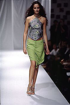 Elspeth Gibson | Spring 2000 Ready-to-Wear | 10 Grey floral halter top and green midi skirt