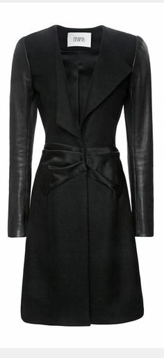Wool A-Line Coat with Leather Sleeves