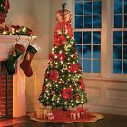 6.5 Foot Pre-lit Decorated Poinsettia Pop Up Christmas Tree Decor