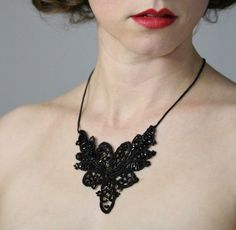 Dark and Beautiful Mourning Lace Necklace #victorian #lace #black #antique