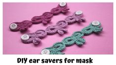 konektor masker rajut motif pita|| ear saver for mask - YouTube Crochet Cord, Crochet Mask, Crochet Headband Pattern, Crochet Faces, Crochet Stitches, Free Crochet, Diy Crochet Projects, Crochet Jewelry Patterns, Satin Stitch