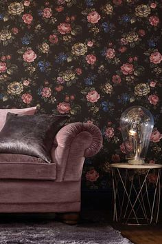 Muse by Cole & Sons is a digital image wallpaper with a matt finish, of a tapestry like all over floral design #darkfloralwallpaper