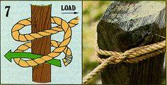 """ロープを芯に縛り付ける結び方のひとつ。""""Clove Hitch"""""""