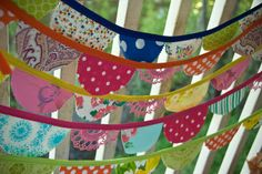 fabric banners by swell life, love the doilies thrown in