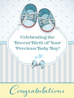 Birth greeting card Elegant and uncluttered design Ideal to offer at a birth. Congratulations to happy parents!