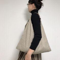 リネンと革のバッグ(ナチュラル)