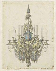 Ontwerp voor een kroonluchter, Jean Démosthène Dugourc, 1779 - 1789