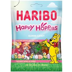 Haribo Easter Happy Hoppers Gummi Bunnies These limited edition gummies come in the shape of bunnies and carrots, specifically for the Easter holiday. Assorted flavors. Invented in Germany back in the