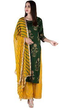 Kurta Designs For Female, Kurta Palazzo, Beaded Trim, Gold Print, Kurtis, Print Patterns, Kimono Top, Cover Up, Chiffon
