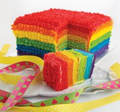 Square rainbow cake with step by step directions!