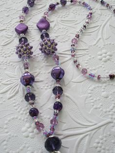 Purple Alice ID Badge Necklace ID Badge holder by TheBeadBeauty, $24.00