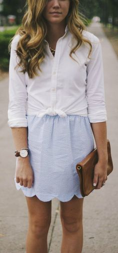 seersucker scalloped hem skirt + white button up