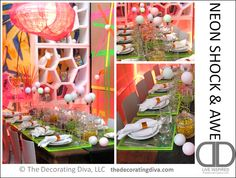 80s' Inspired Neon Shock & Awe Table Setting | TheDecoratingDiva.com   (table top decorating ideas)