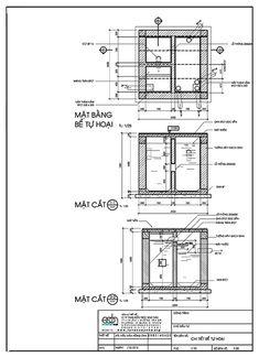 Bản vẽ thiết kế nhà vệ sinh tự hoại đầy đủ Septic Tank Design, Building Foundation, Water Storage, Autocad, Floor Plans, Construction, Architecture, Detail Design, Toilet