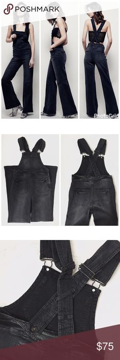 FP Black Flare Overalls Cute and Stylish, these vintage style overalls from Free People feature a faded black wash, front and back pockets, adjustable crisscross straps, a flared bell bottom leg, and a side zipper and button for an easy fit.  Looks great with just a bralette, crop top, or bralette.  Size 26, but runs slightly big and could probably fit a 27 too.  Waist measures 28 inches across and the inseam is 32.  Never worn and in excellent condition! Free People Jeans Overalls