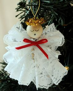 me ~ DIY Angel Ornament Christmas Craft Kit Lace Angel Christmas Ornament DIY Kit Angel Crafts, Christmas Projects, Holiday Crafts, July Crafts, Christmas Angel Ornaments, Diy Christmas Ornaments, Christmas Decorations, Etsy Christmas, Birthday Decorations