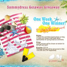 Sammydress Getaway Giveaway! One week, one winner! $50 Gift Card each!
