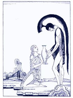 """Kay Nielsen - Red Magic, The Chimera, """"He begged that he might refresh himself"""", 1930"""