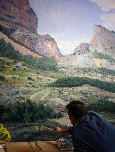 Pintar con espátula paisajes hermosos | Pintar al óleo Grand Canyon, Mountains, Nature, Travel, Drawings Of Horses, Impressionism, Naturaleza, Art, Viajes