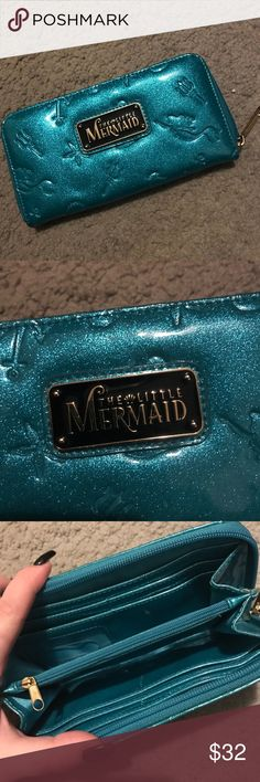 Disney's The Little Mermaid sparkly wallet! Like new Loungefly The Little Mermaid wallet! Has room for cards, dollars, coins, etc. LOTS OF ROOM! It is a sparkly blue with pictures of Ariel along with other objects from the movie! Disney Bags Wallets