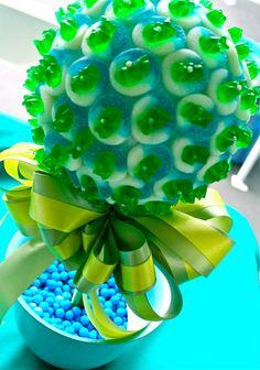 Blue Green Gummy Bear Candy Land Centerpiece Topiary Tree, Candy Buffet Decor Arrangement Wedding, Mitzvah, Party Favor, Edible Art