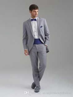 Best Stylish Notch Lapel Grey Groom Tuxedos Men'S Wedding Dress Prom Clothing Jacket+Pants+Bows Tie+GirdleA:94 Best Suits For Men Black Suits From Aizaijinshengzhubao, $84.43| Dhgate.Com