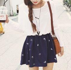 Large White Shirt, Navy Skirt