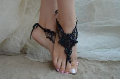 barefoot sandals free ship Black sandals black Beach by UnionTouch