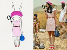 Fifi Lapin models an outfit from Orla Kiely's S/S 2014 Moonrise Kingdom-inspired collection