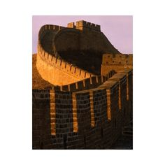 Great Wall of China at Sunset, Badaling, China ❤ liked on Polyvore featuring home, home decor, wall art, backgrounds, mulan, photography wall art, photo poster, wall posters, home wall decor and photography posters