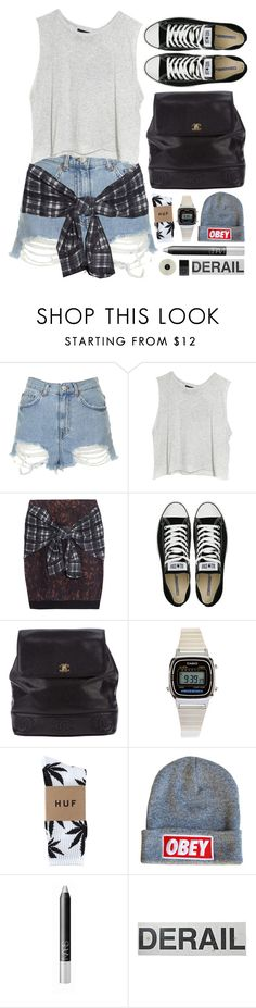 """""""Untitled #162"""" by missad3 ❤ liked on Polyvore featuring Topshop, MINKPINK, 3.1 Phillip Lim, Converse, Chanel, American Apparel, HUF, OBEY Clothing, NARS Cosmetics and FOSSIL"""