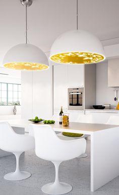 sleek & modern kitchen // love the gold lights