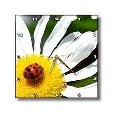 ladybug on a daisy II - Wall Clocks