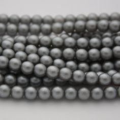25 Czech Glass Pearl Beads in Silver  6 mm by ThisPurplePoppy