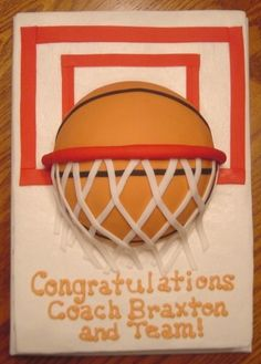 A 9 x 13 yellow sheet cake with half ball on top. Sheet cake is iced in buttercream. Basketball covered in fondant.hoop, backboard are made of fondant. Got the idea from other great cakes on CC. Basketball Party, Basketball Birthday, Basketball Cakes, Sports Birthday Cakes, 7th Birthday, Sport Cakes, Cakes And More, Cupcake Cakes, Cupcakes