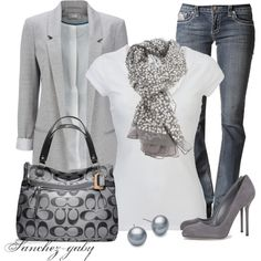 love the Shades of Grey...love pairing my blazer with a crisp white tshirt and you can never go wrong with a pair of grey heels...but minus the bag, not a fan:(