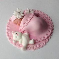 Comestibles bebé ducha pastel Fondant Cake por BabyCakesByJennifer