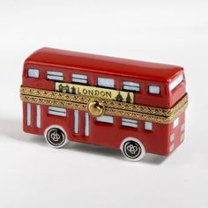 Cute London Double Decker Red Bus Limoges Trinket Box ~ Limoges Porcelain Boxes for Collectors