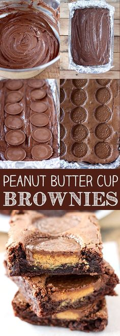 Butter Cup Brownies Reese's Peanut Butter Cup Brownies - homemade brownies with real peanut butter cups baked right in.Reese's Peanut Butter Cup Brownies - homemade brownies with real peanut butter cups baked right in. Oreo Dessert, Dessert Bars, Dessert Food, Köstliche Desserts, Delicious Desserts, Brownie Desserts, Homemade Desserts, Dessert Recipes, Brownie Recipes