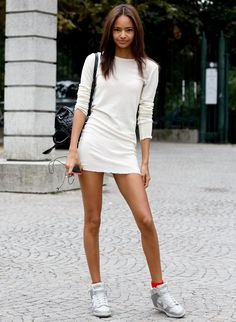 Offset Your Favourite Summer Dress With A Pair Of These Fresh Sneakers Outfits Dress, Dress And Sneakers Outfit, Fashion Outfits, Fashion Ideas, Net Fashion, Fashion Quotes, Girl Outfits, All White Party Outfits, Simple Summer Outfits